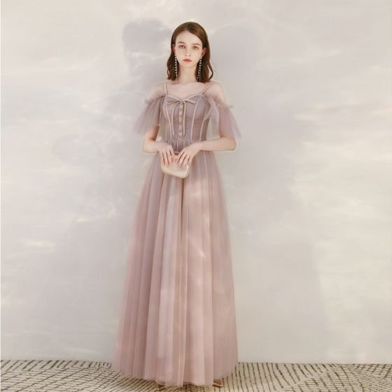 Chic / Belle Rougissant Rose Robe De Soirée 2020 Princesse Bretelles Spaghetti Manches Courtes Longue Volants Dos Nu Robe De Ceremonie