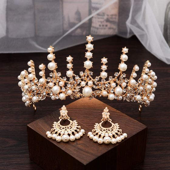 Classic Gold Bridal Jewelry 2020 Metal Pearl Rhinestone Earrings Tiara Bridal Accessories