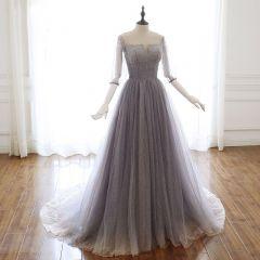 Luxe Gris Violet Glitter Robe De Soirée 2020 Princesse De l'épaule Perlage Faux Diamant Paillettes 3/4 Manches Dos Nu Train De Balayage Robe De Ceremonie