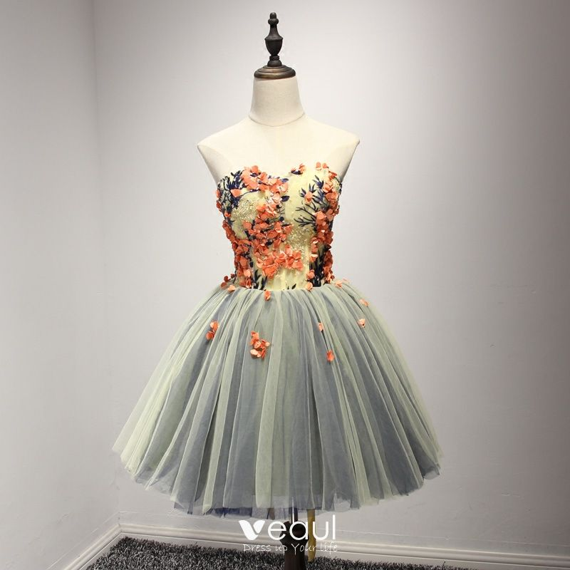 e2f38ea1ae3 Modern   Fashion Multi-Colors Party Dresses 2017 Cascading Ruffles Short  Ball Gown Sweetheart Sleeveless Backless Pearl ...