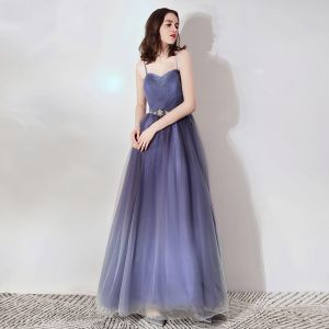 Chic / Beautiful Purple Evening Dresses  2019 A-Line / Princess Spaghetti Straps Sleeveless Beading Metal Sash Floor-Length / Long Ruffle Backless Formal Dresses