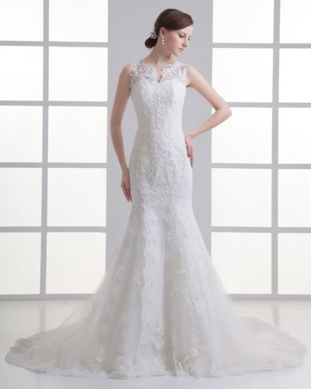 Tulle Beading Applique V Neck Court Train Mermaid Wedding Dress