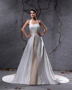 Charmeuse Broderi Rufsa Grimma Kapell A-line Brudklänningar Bröllopsklänningar