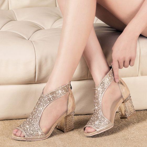 Chic / Beautiful 2017 Gold Outdoor / Garden Leather Summer Rhinestone Mid Heels Thick Heels 7 cm Slipper Open / Peep Toe Pumps
