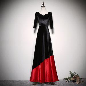 Piękne Dwa kolory Sukienki Wieczorowe 2020 Princessa Zamszowe Kwadratowy Dekolt 1/2 Rękawy Bez Pleców Długie Sukienki Wizytowe