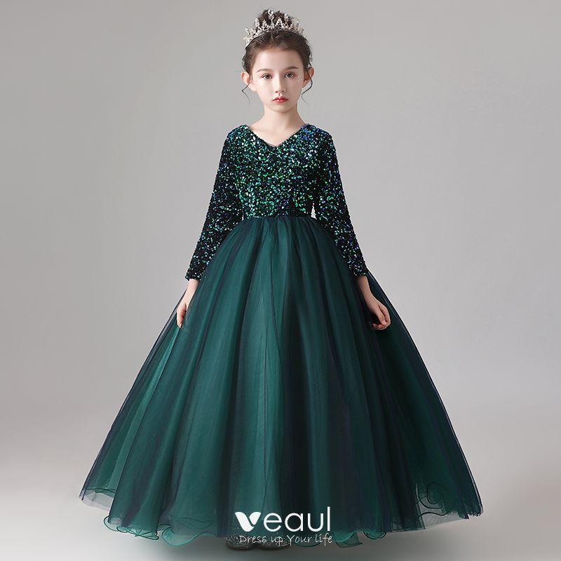 Chic Beautiful Dark Green Flower Girl Dresses 2020 Ball Gown Scoop Neck Long Sleeve Sequins Floor Length Long Ruffle