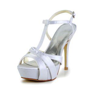 Mode Weißen Brautschuhe Satin Stilettos Plattform Riemchensandalen