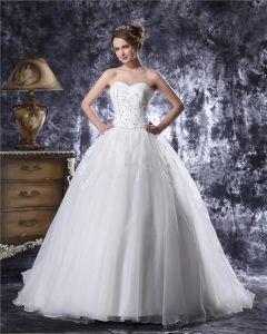 Sweetheart Etage Longueur Organza Perles Paillette Robe De Bal De Mariage Robe