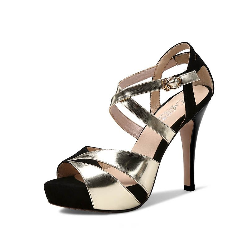 Modern / Fashion Evening Party Hall Pumps 2017 Outdoor / Garden Leather X-Strap High Heel Open / Peep Toe Pumps
