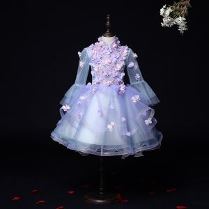 Flower Fairy Lilac See-through Birthday Flower Girl Dresses 2020 Ball Gown High Neck Long Sleeve Flower Appliques Lace Beading Short Ruffle
