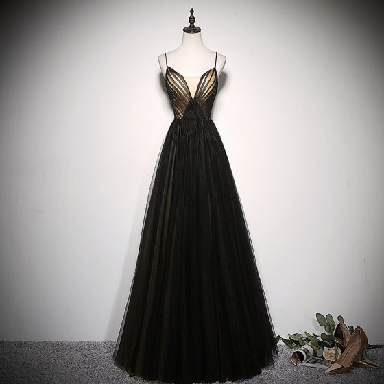Chic / Beautiful Black Evening Dresses  2020 A-Line / Princess Spaghetti Straps Sleeveless Backless Floor-Length / Long Formal Dresses