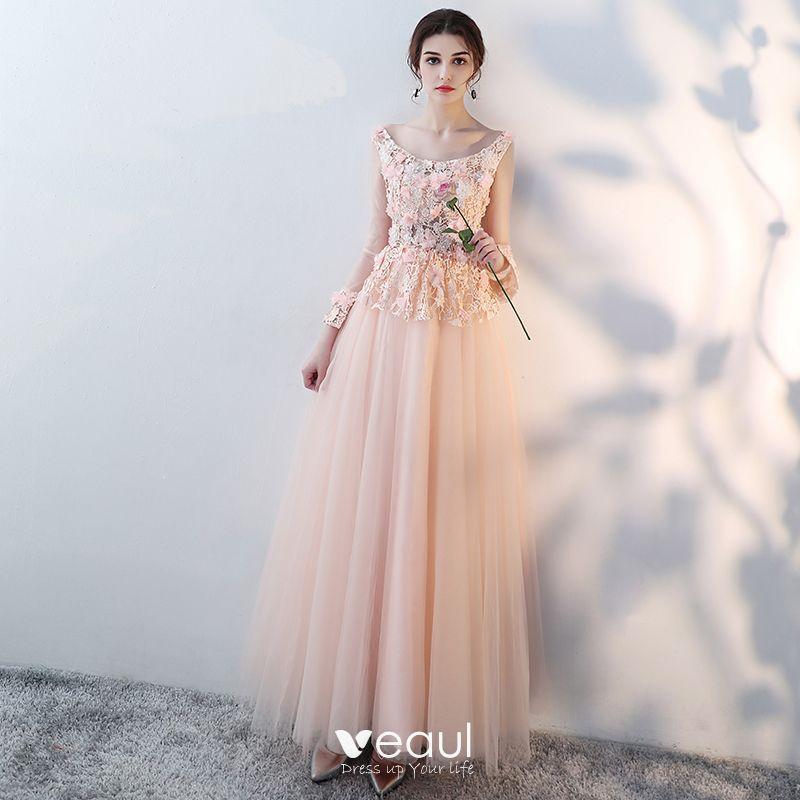 único Rosa Clara Largos Vestidos De Noche 2018 A Line Princess Tul Con Cordones U Escote Apliques Sin Espalda Rebordear Vestidos Formales