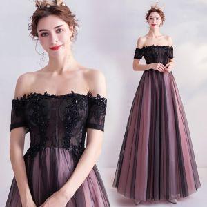 Charmant Noire Robe De Bal 2020 Princesse De l'épaule Cristal En Dentelle Fleur Manches Courtes Dos Nu Longue Robe De Ceremonie