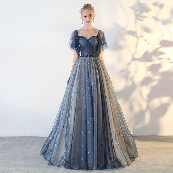 Elegant Navy Blue Prom Dresses 2018 A-Line / Princess Star Backless Square Neckline Short Sleeve Floor-Length / Long Formal Dresses