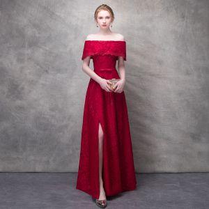 Piękne Burgund Podział Przodu Sukienki Wieczorowe 2017 Princessa Z Koronki Kwiat Rhinestone Kokarda Przy Ramieniu Bez Pleców Kótkie Rękawy Długość Kostki Sukienki Wizytowe