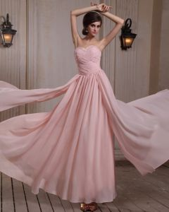 Fashionable Sleeveless Chiffon Beading Ruffles Sweetheart Floor Length Evening Gowns
