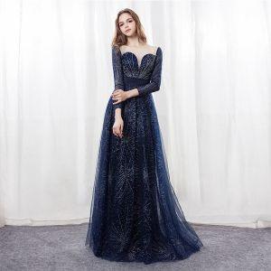 Błyszczące Gwiaździste Niebo Granatowe Sukienki Wieczorowe 2018 Princessa Wycięciem Długie Rękawy Rhinestone Satyna Szarfa Długie Bez Pleców Przebili Sukienki Wizytowe