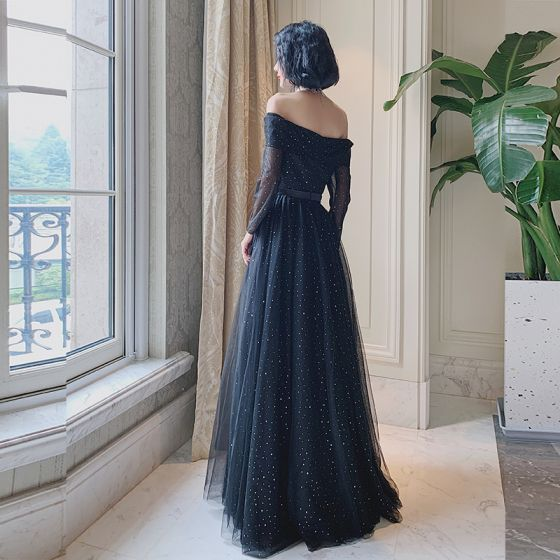 Bling Bling Black Dancing Prom Dresses 2021 A-Line / Princess Off-The-Shoulder Short Sleeve Sequins Tulle Floor-Length / Long Ruffle Backless Formal Dresses