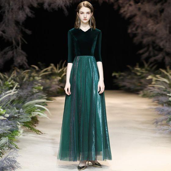 Affordable Dark Green Suede Winter Evening Dresses  2020 A-Line / Princess V-Neck 1/2 Sleeves Floor-Length / Long Ruffle Formal Dresses