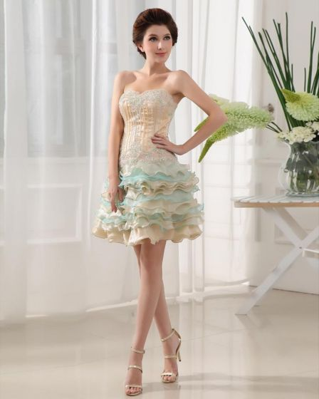 Silk like Satin Satin Yarn Applique Beading Sweetheart Sleeveless Backless Zipper Mini Tiered Homecoming Dress