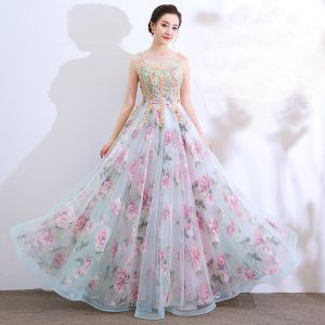 Chic / Beautiful Multi-Colors Floor-Length / Long Evening Dresses  2018 A-Line / Princess U-Neck Tulle Appliques Backless Beading Printing Evening Party Formal Dresses
