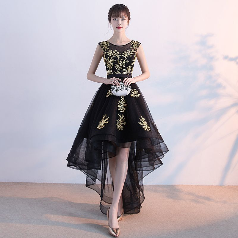 Chic / Beautiful Cocktail Party Formal Dresses 2017 Cocktail Dresses Black A-Line / Princess Asymmetrical Sash Scoop Neck Backless Sleeveless Gold Appliques Flower