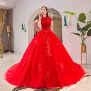 Chic / Beautiful Red Wedding Dresses 2019 A-Line / Princess High Neck Beading Crystal Lace Flower Short Sleeve Backless Cathedral Train