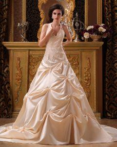 Satin Applikasjon Beading Grime Kapell A-linje V-hals Brudekjoler Bryllupskjoler