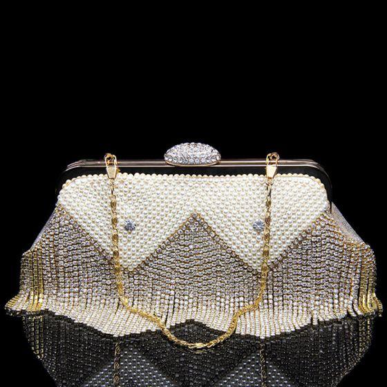 Mode Doré Cuir Verni Pochette 2020 Métal Perle Faux Diamant Gland