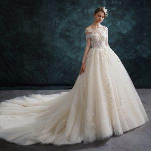 Elegante Champagner Brautkleider / Hochzeitskleider 2019 A Linie Rundhalsausschnitt Spitze Blumen Lange Ärmel Rückenfreies Kathedrale Schleppe