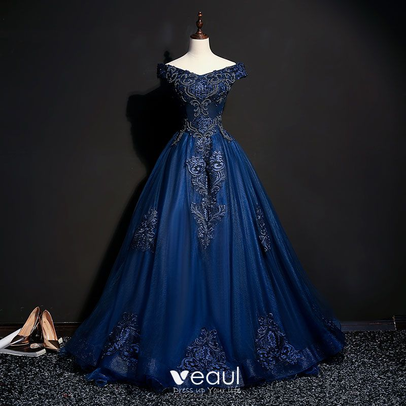 fbff892c9 Vintage / Retro Navy Blue Prom Dresses 2018 Ball Gown Off-The-Shoulder  Short Sleeve Appliques Lace ...