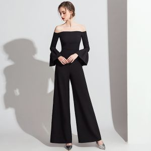 Chic / Beautiful Black Jumpsuit 2019 Off-The-Shoulder Bell sleeves Ankle Length Backless Evening Dresses