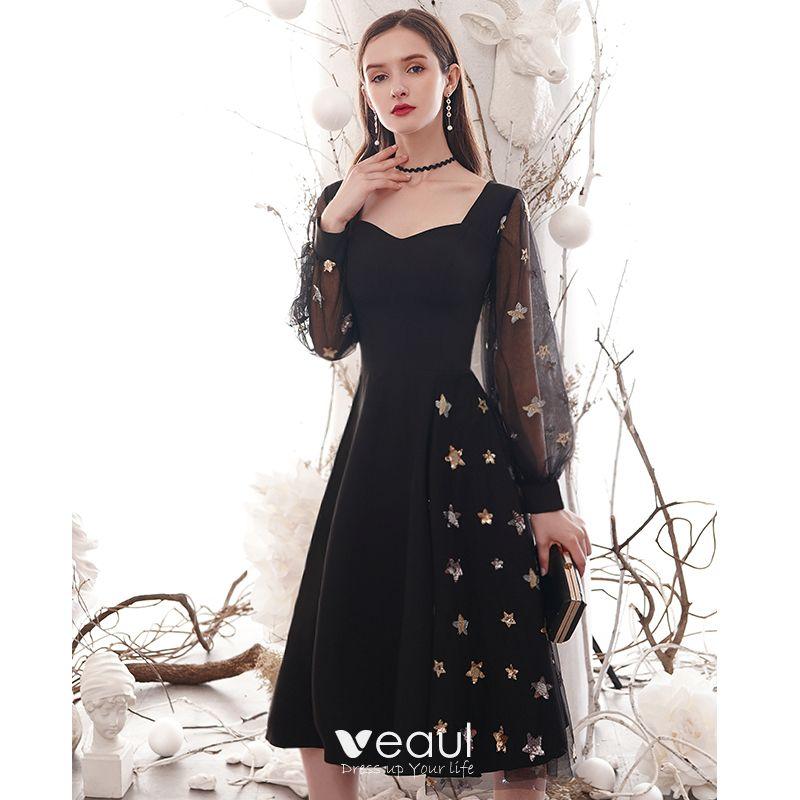 Vintage Enkla Enfärgad Svarta Hemkomst Studentklänningar