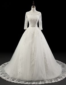 2015 Luxurious Ball Gown Wedding Dress 1/2 Sleeves Beading Bridal Gown