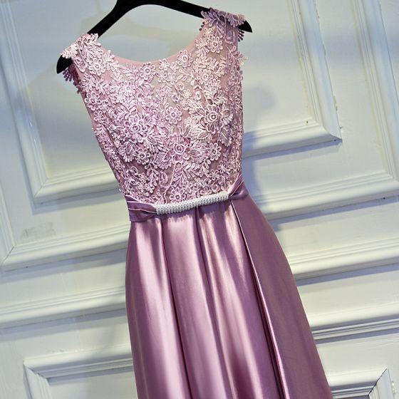 Śliczny Cukierki Różowy Sukienki Wizytowe 2017 Imperium Z Koronki Kwiat Bez Pleców Kokarda Rhinestone Wycięciem Bez Rękawów Długość Kostki Sukienki Wieczorowe