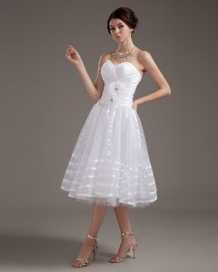 Elegant Strapless Applique Satin Yarn Short Wedding Dresses