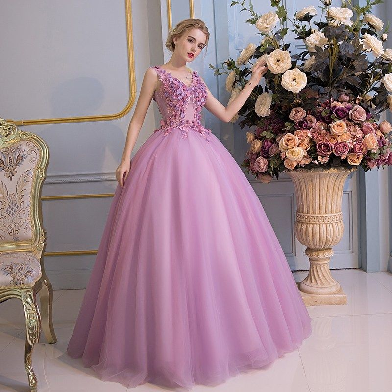 Chic / Beautiful Prom Dresses 2017 Lace Flower Appliques V-Neck Sleeveless Backless Floor-Length / Long Lilac Ball Gown