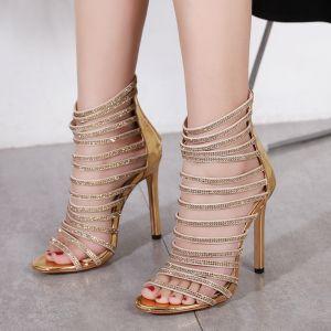 Sexy Gold Evening Party Womens Sandals 2020 Rhinestone 11 cm Stiletto Heels Open / Peep Toe Sandals
