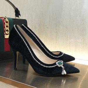 Classy Black Evening Party Rhinestone Pumps 2020 Suede 9 cm Stiletto Heels Pointed Toe Pumps