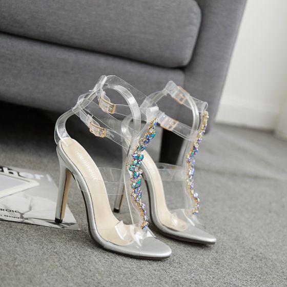 Sexy Sølv Aften Sandaler Dame 2020 Rhinestone Ankelstropp 11 cm Stiletthæler Peep Toe Sandaler