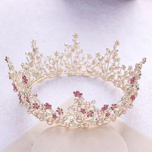 Luxury / Gorgeous Gold Tiara 2018 Metal Pearl Rhinestone Wedding Accessories