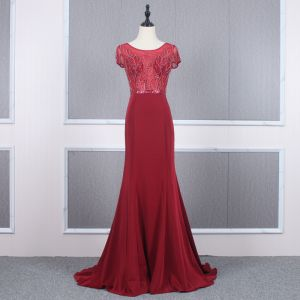 High-end Red See-through Evening Dresses  2020 Trumpet / Mermaid Scoop Neck Short Sleeve Beading Sweep Train Ruffle Formal Dresses