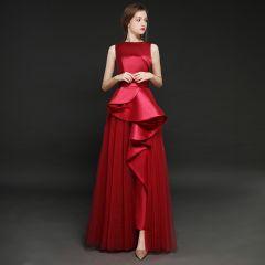 Vintage / Retro Burgundy Satin Jumpsuit 2019 A-Line / Princess Square Neckline Sleeveless Floor-Length / Long Ruffle Evening Dresses
