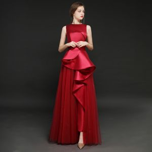 Vintage / Retro Burgundy Satin Jumpsuit 2019 A-Line / Princess Square Neckline Sleeveless Floor-Length / Long Ruffle Evening Dresses