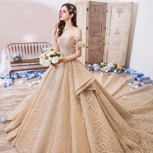 Luxury / Gorgeous Champagne Wedding Dresses 2019 Ball Gown Off-The-Shoulder Short Sleeve Backless Handmade  Beading Glitter Tulle Royal Train Ruffle