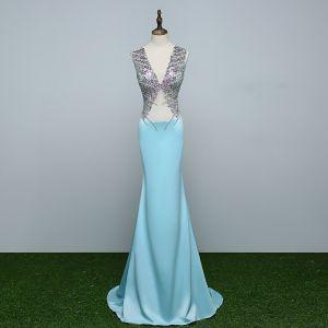 Sparkly Sky Blue Evening Dresses  2017 Trumpet / Mermaid V-Neck Beading Backless Sequins Evening Party Formal Dresses