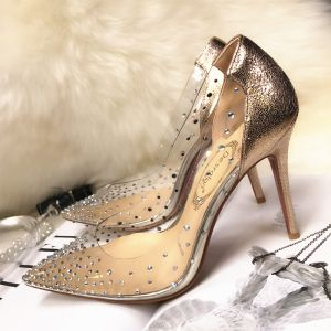 Sexy Gold Evening Party Rhinestone Pumps 2020 10 cm Stiletto Heels Pointed Toe Pumps