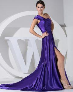 Fashion Satijn Zijde Geplooide Rechter Trein Een Schouder Vrouwen Avondjurken