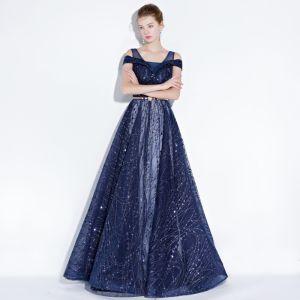 Sparkly Navy Blue Evening Dresses  2018 A-Line / Princess Glitter Sequins Metal Sash Shoulders Backless Sleeveless Floor-Length / Long Formal Dresses