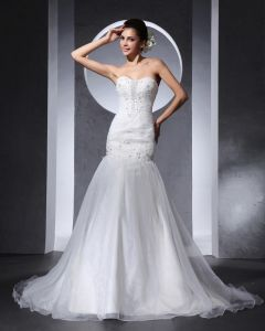 Beautiful Beading Ruffle Sweetheart Floor Length Court Train Organza Satin A Line Wedding Dress